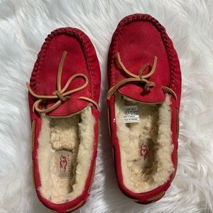 Ugg women red slip on/loafers/flats/ size 7.